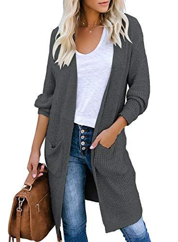 Roskiky Damen Langarm Strickjacke mit Taschen Lang Offnen Cardigan Strickpullover Jacke Dunkelgrau Größe XL
