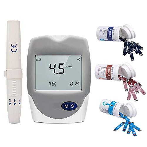 3 in 1 Misuratore del colesterolo Glucosio nel sangue Dispositivo di monitoraggio dell'analizzatore di acido urico per uso domestico con strisce e lancette,glucometro a espulsione one-touch,3 in 1 set