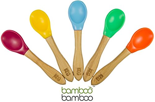 Bamboo Baby Feeding Spoons with Soft Curved Silicone Bowl Tips for Toddlers and Infants (Multi Pack-Green, Yellow, Orange, Cherry, Blue)