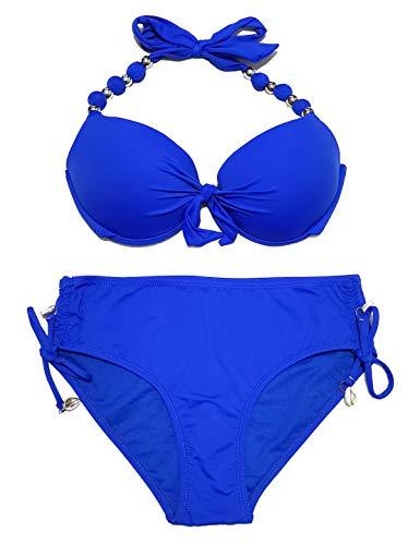 EONAR Damen Zweiteilige Bikini Set Neckholder Badeanzug Push up Bikini Oberteil Mit High Waist Bikini Bottom Sport Abnehmbar Bademode, (Größe:44)80D/85C/85D/90C, Blau