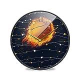 バスケットボールファイアスターラウンドウォールクロック円形プレートサイレント非カチカチ時計キッチンホームオフィスインテリア男の子女の子
