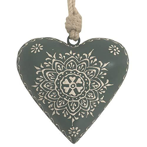 L'ORIGINALE DECO Cœur à Suspendre en Métal Fer Patiné Gris 11 cm x 11 cm