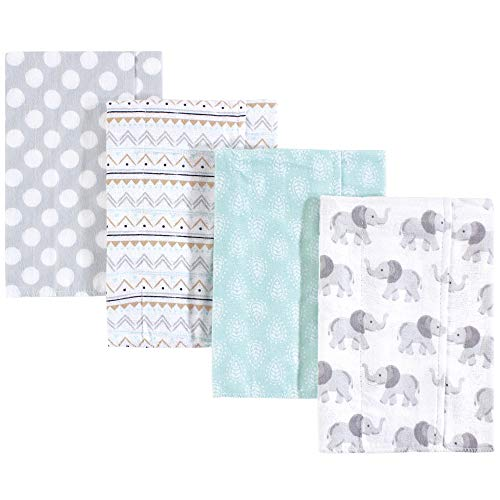 Hudson Baby Unisex Baby Cotton Flannel Burp Cloths, Gray Elephant, One Size