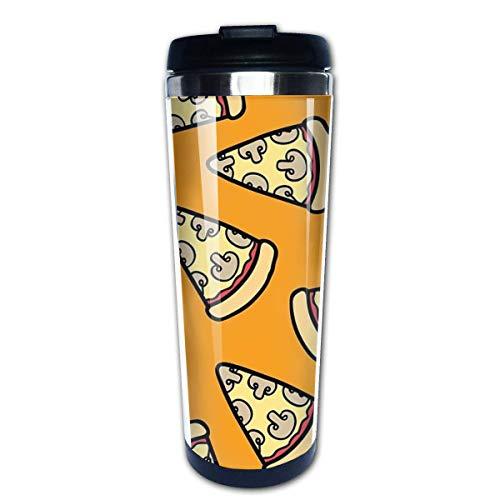 Taza de viaje de café con diseño de pizza de champiñones, tazas de café con tapas, taza de acero inoxidable para hombres y mujeres