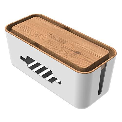 NTONPOWER Kabelbox Groß Steckdosenbox Kabelsammler Aufbewahrungsbox für Kabelführungs Ladekabel Aus ABS Kunststoff mit Belüftung, 13.8x31x13.1cm- hölzerne Textur Organizer, MEHRWEG