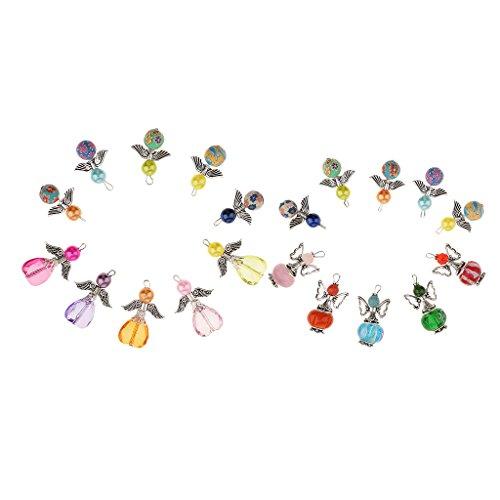 joyMerit 20 Piezas de Colores Surtidos, Acrílico, Arcilla, Polímero, Alas de ángel, Encantos de Hadas, Colgantes, Accesorios, Adorno para Hacer Joyas, Suminist