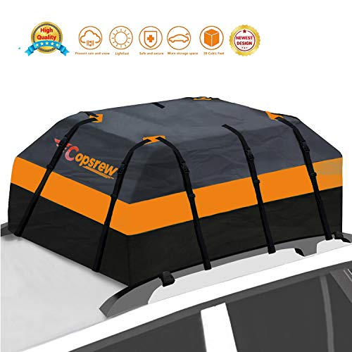 Copsrew 20 Cubic ft Car Roof Bag & Rooftop Cargo Carrier 100% Waterproof Heavy Duty RoofBag. Fits All Vehicle with/Without Rack. 4+2 Door Hooks Included
