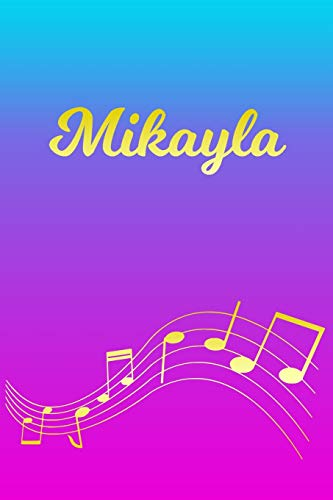 Mikayla: Sheet Music Note Manuscript Notebook Paper – Pink Blue Gold Personalized Letter M Initial Custom First Name Cover – Musician Composer … Notepad Notation Guide – Compose Write Songs