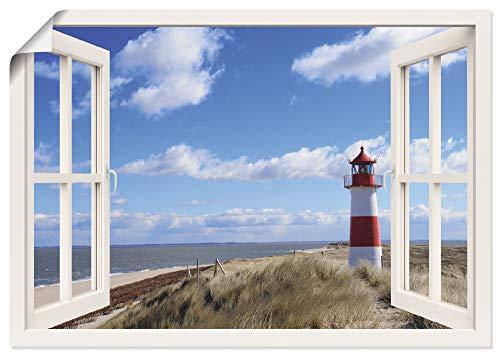 Artland Poster Kunstdruck Wandposter Bild ohne Rahmen 70x50 cm Fensterblick Fenster Strand Meer Maritim Düne Leuchtturm Sylt Nordsee T5SD