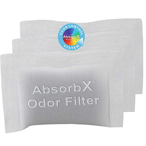 iTouchless 3-Pack AbsorbX Odor Filter Deodorizers, Absorbs Trash Odors, All Natural Activated Carbon, Biodegradable - for 8 Gal and larger Trash Cans with Odor Filter Compartment