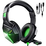 Mpow Green Gaming Headset for PS4,PS5, PC, Xbox One,Switch -Surround Sound Headset with Microphone,Noise Cancelling,LED,Soft Earmuffs,Gaming Headphone for Girls Kids Headphones for Boys (EG10)