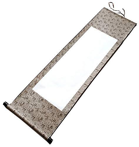 Carrete de dibujo de seda, caligrafía china, blanco, colgante, 110x38 cm (W5)