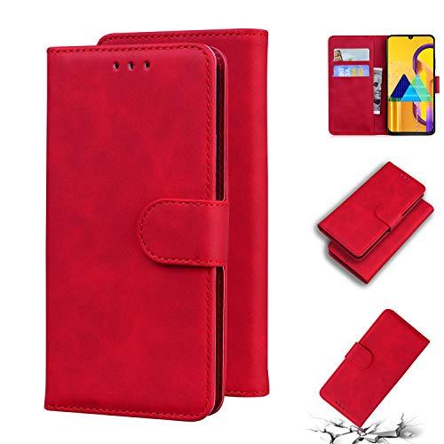 TTUDR Galaxy M30S Premium Leder Flip Schutzhülle [Standfunktion] [Kartenfächer] [Magnetverschluss] lederhülle klapphülle für Samsung Galaxy M30S - TTTX010259 Rot