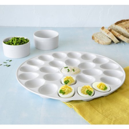 Better Homes and Gardens Porcelain Egg Platter with Round Ramekins