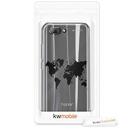 kwmobile Huawei Honor 10 Hülle - Handyhülle für Huawei Honor 10 - Handy Case in Travel Umriss Design Schwarz Transparent - 7