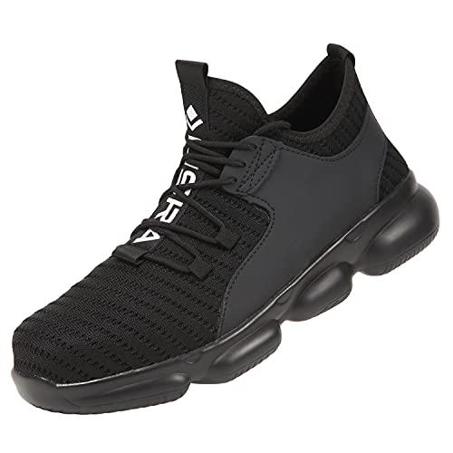 [リスラ] 安全靴 作業靴 軽量 鋼先芯入り 靴 男女兼用 メンズ レディース あんぜん靴 スニーカー セーフティーシューズ (ブラック, 28.5cm /47)
