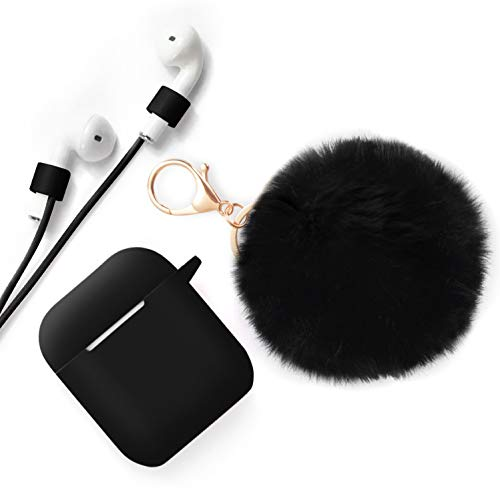 Case for Airpods Case - CAMMATE AirPods Case Cover Silicone Skin Protective Airpods Accessories for Apple Airpods Charging Case with Anti-lost Strap,Fur Ball Keychain,Black(Front LED Visible)
