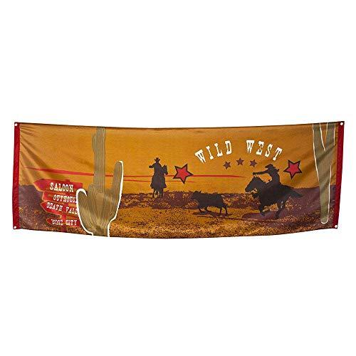 Boland 54310 - Dekorationsbanner Wild West, 1 Stück, Größe 220 x 74 cm, Saloon, Wilder Westen, Cowboy, Indianer, Wanddekoration, Mottoparty, Geburtstag, Karneval, Girlande