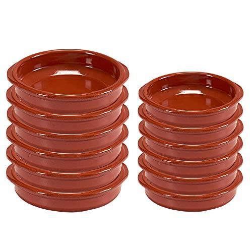 12er-Set Tonschalen Tapasschale Auflaufform Grillschalen Cazuela-Set Servierschale aus feuerfestem Ton, Ø12 und 14 cm, Rund, Ofenfest, Ineinander Stapelbar