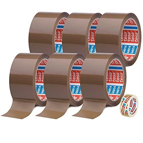 TESA 6 Rollen Klebeband Braun 64014 - Paketband 50mm x 66m - Paketklebeband leise abrollend + Gratis Tesafilm [15mm x 10m]