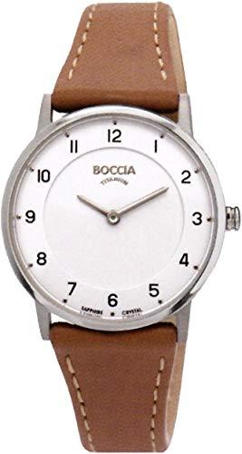 Boccia Damen Analog Quarz Uhr mit Leder Armband 3254-01