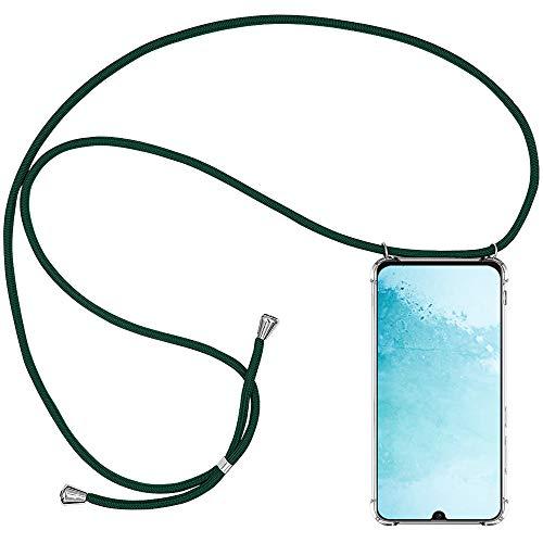 CLM-Tech Handykette kompatibel mit Samsung Galaxy M30s - Hülle mit Kordel zum Umhängen - Silikon Schutzhülle transparent mit Band Schnur, grün