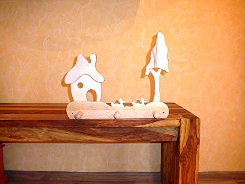 Kindergarderobe Haus, Enten, Baum, Massivholz