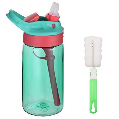 flintronic Botella Agua con Pajitas, Botella de Agua para Niños, 480ml/16OZ Botella a prueba de Fugas, Grado alimenticio PP Plástico, para Deportes y Aire Libre, Verde