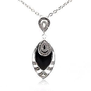 Sweet & Happy Girl's Store Halskette mit Anhänger, 12 x 22 mm, schwarze Achat-Perlen, Markasit, tibetisches Silber