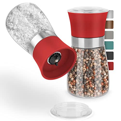 Thingles® Gewürzmühlen 2er Set mit verstellbarem Keramikmahlwerk – für Salz, Pfeffer, Chili & alle Arten von Kräutern I Edle Salzmühle & Pfeffermühle mit einstellbarem Mahlgrad (Rot, 13 cm)