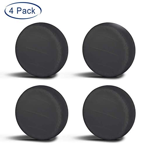 "Aebitsry Tire Covers for RV Wheel, (4 Pack) Motorhome Wheel Covers Waterproof Oxford Sun UV Tires Protector for Trailer, Camper,Universal Fits 24"" to 32"" Car Tire Diameter (Black, 27-29)"