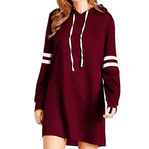 GreatestPAK Kapuzen Strickjacke Damen Neu Lange Hülsen Kapuzenpullis Lang Sweatshirts Pullover Kleider,Weinrot,Etiketten:L(Büste:110cm)