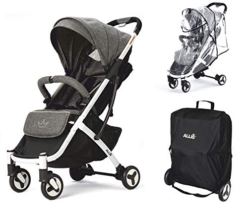 Allis Plume Lightweight Baby Travel Pram, 3 in 1 Set with Lightweight Stroller Pushchair, Rain Cover and Travel Carry Bag, Compact Stroller for Babies from 6 Months (Charcoal)