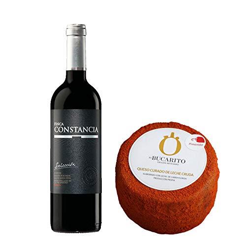 Pack de Vino tinto Finca Constancia Seleccion y Queso Curado de Leche Cruda en Pimenton - Vino de 75 cl y Queso de 900 g aprox - Mezclanza