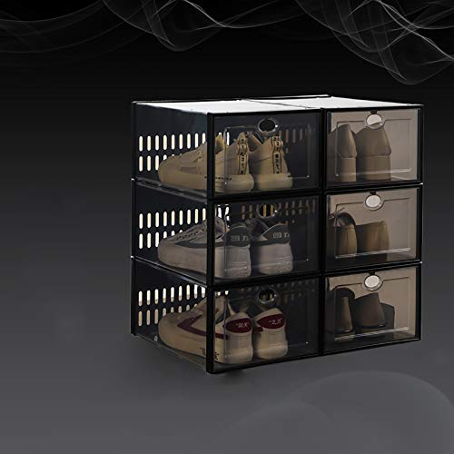 6 Cajas De Almacenamiento De Zapatos Apilables De Paquete,Plegable Portátil Caja De Zapatos De Plástico Transparente Para Armarios,Estante De Zapatos De Entrada,Dormitorio,Salón-C 33.7x23.3x15.3cm(13x