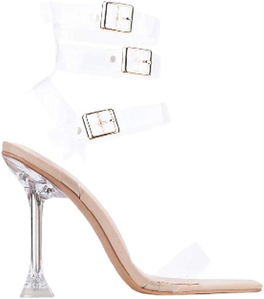 Women's Clear Strappy High Heel Open Peep Toe Sandals
