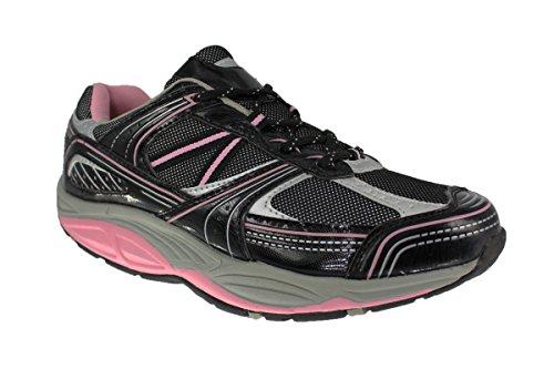 buyAzzo Damen Komfort Gesundheitsschuhe Spezial Rundsohle Aktivschuhe Gesundheit Fitness Sneaker Balance Schuhe BA21220042 (38, Schwarz)