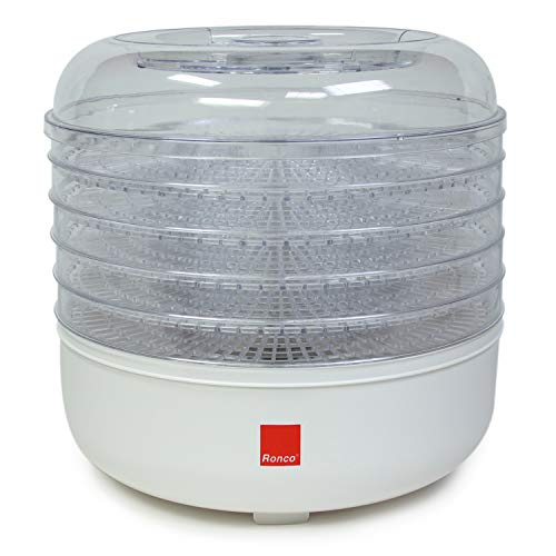Ronco 5-Tray Dehydrator, Food Preserver Quiet Operation, for Beef, Turkey, Chicken, Fish Jerky, Fruits, Vegetables, Classic White