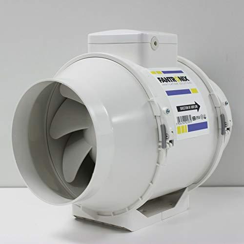 Fantronix FTX-TUBE-150-T silencioso Ventilador de Inodoro Control de Humedad de 150 mm en línea para el baño con Temporizador de 6 Pulgadas montado en el Techo de Ducha, blanco, 6