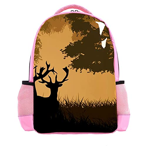 Two Reindeers In The Forest, Children's Backpack for Kids Cute School Bag Toddler Rucksack for Boys Girls Kindergarten Lightweight Daypack