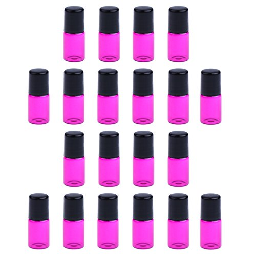 Fenteer 20pcs Bouteille Diffuseurs Flacon Rouleau Roll-on Pipette - Rose rouge, 3ML