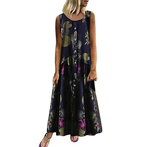 Damen lopily sommerkleider ärmel straps blumendruck-kleid mode für mollige maxi weinlese x3_navy blau 16