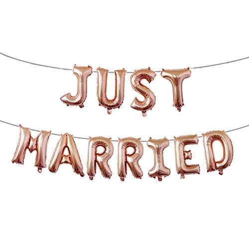 thematys® Just Married Globo de Fiesta - Globos en 3 Colores Diferentes Bodas (Beige)