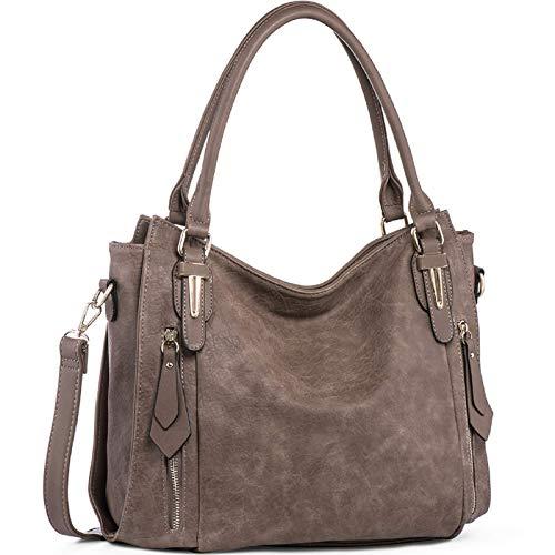 Handbags for Women Shoulder Tote Zipper Purse PU Leather Top-handle Satchel Bags Ladies Medium Size Uncle.Y Sepia Brown