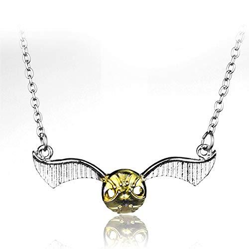 YUNMENG Collar de Snitch Dorado Collar de Gargantilla de Partido de Quidditch Tono Plateado Collar de ala de Las Reliquias de la Muerte