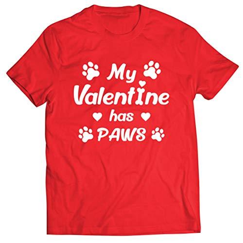 lepni.me Camisetas Hombre Mi Valentn iene Patas Regalo para los Amantes Adictos a Las Mascotas en el Da de San Valentn (L Rojo Multicolor)