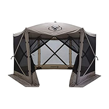 Gazelle Tents GG601DS Easy Pop Up Portable Waterproof UV-Resistant 8-Person Camping and Outdoors Gazebo Day Tent with Mesh Windows Desert Sand 124 x124