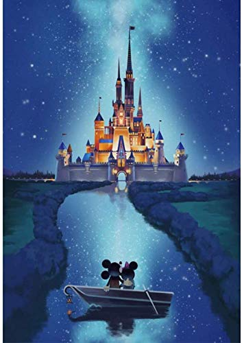 Pintar por números – Mickey y Castillo - Lienzos para Pintar por números con Pinceles y Colores Brillantes - Cuadro de Pinturas con numeros Disney