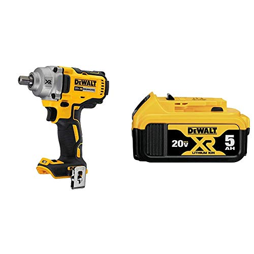 DEWALT 20V MAX XR Cordless Impact Wrench Kit with Detent Pin Anvil, 1/2-Inch, Tool Only (DCF894B) & 20V MAX XR Battery, Lithium Ion, 5.0Ah (DCB205)