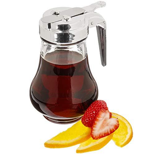 Syrup Dispenser, 8oz (240mL) - Glass Bottle No-Drip Pourers for Maple Syrup, Salad Dressings, Honey, Sugar, Oils, Sauces, & Condiments - Home Pancakes & Waffles, Cafes, & Restaurants